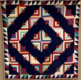 Folk Art C 1900s Pa Amish Mennonite Log Cabin Quilt Antique Wools