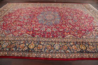 Vintage Traditional Persian Area Rug Red Blue Oriental Hand - Knotted Wool 10x13