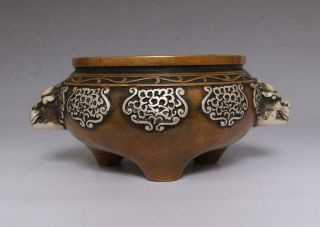 Perfect Antique Chinese Bronze Incense Burner Xuande Mark Lions Pattern