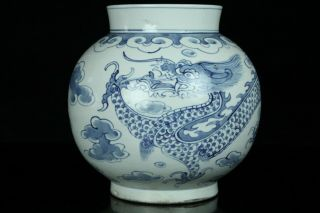 Jun248f Korean Late Joseon Blue&white Porcelain Dragon&cloud Vase Pot Buncheng