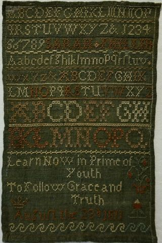 Small Early 19th Century Alphabet & Verse Sampler By Sarah Phillips - 1811