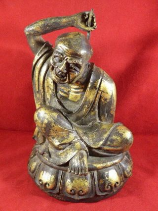 Stunning Antique Chinese Gilt Bronze Figure Of A Man With A Back Scratcher C1880