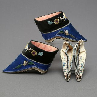 Antiques Chinese Embroidered Silk Shoes China Qing Dynasty Embroidery