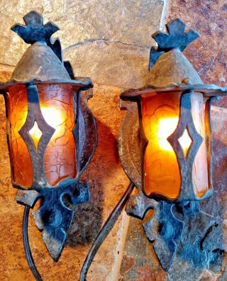 2 Antique Mission,  Arts And Crafts Sconce,  Crackle Shades 2