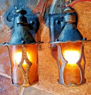 2 Antique Mission,  Arts And Crafts Sconce,  Crackle Shades 1