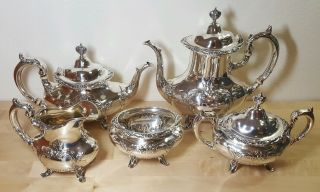 Reed & Barton Sterling Silver Tea Set Burgundy Teapot Sugar Creamer 5pc