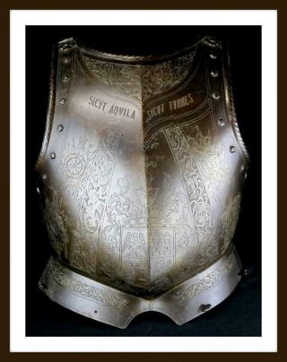 Antique 17th - 18th C.  Engraved Italian Parade Cuirass Breastplate Armor (sword)