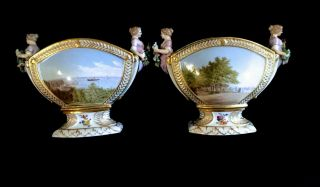 Pair Antique Hand Painted Porcelain Vases Figural Decoration Paintings On Front