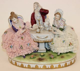 Large Dresden Lace Tea Party Figurine Group