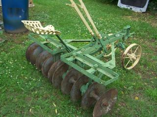 Antique Horse Drawn Disc Harrow With Cast Iron Seat Say Stoddard Green & Yellow