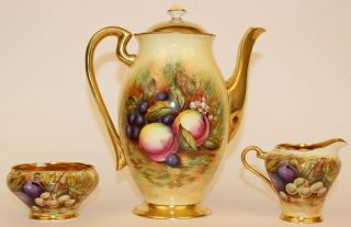 ANSLEY ORCHARD FRUIT COFFEE POT W/CUPS & SAUCERS CREAMER & SUGAR ARTIST SIGNED 3