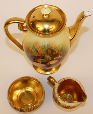 ANSLEY ORCHARD FRUIT COFFEE POT W/CUPS & SAUCERS CREAMER & SUGAR ARTIST SIGNED 4