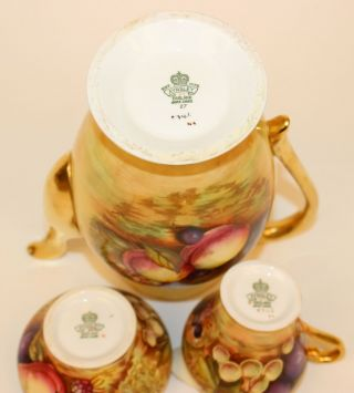 ANSLEY ORCHARD FRUIT COFFEE POT W/CUPS & SAUCERS CREAMER & SUGAR ARTIST SIGNED 6