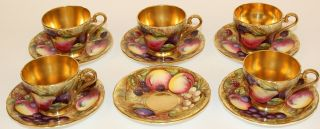 ANSLEY ORCHARD FRUIT COFFEE POT W/CUPS & SAUCERS CREAMER & SUGAR ARTIST SIGNED 7
