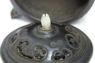 FINE QUALITY CHINESE GOLD SPLASH BRONZE CENSER WITH JADE FINIAL & SEAL MARK RARE 10