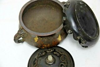 FINE QUALITY CHINESE GOLD SPLASH BRONZE CENSER WITH JADE FINIAL & SEAL MARK RARE 11