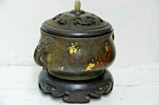 FINE QUALITY CHINESE GOLD SPLASH BRONZE CENSER WITH JADE FINIAL & SEAL MARK RARE 2