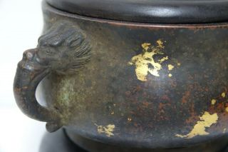 FINE QUALITY CHINESE GOLD SPLASH BRONZE CENSER WITH JADE FINIAL & SEAL MARK RARE 3