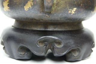 FINE QUALITY CHINESE GOLD SPLASH BRONZE CENSER WITH JADE FINIAL & SEAL MARK RARE 4