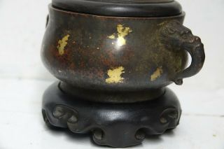 FINE QUALITY CHINESE GOLD SPLASH BRONZE CENSER WITH JADE FINIAL & SEAL MARK RARE 5