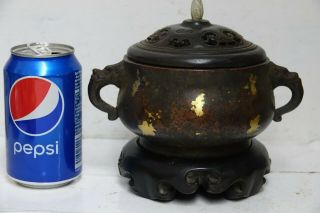 FINE QUALITY CHINESE GOLD SPLASH BRONZE CENSER WITH JADE FINIAL & SEAL MARK RARE 6