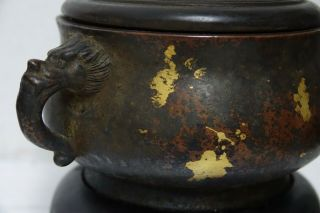FINE QUALITY CHINESE GOLD SPLASH BRONZE CENSER WITH JADE FINIAL & SEAL MARK RARE 7