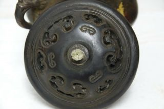 FINE QUALITY CHINESE GOLD SPLASH BRONZE CENSER WITH JADE FINIAL & SEAL MARK RARE 8