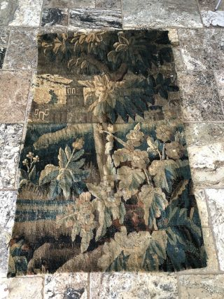 "Large 37"" X 61"" 17th 18th Century Verdure Tapestry"
