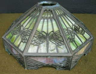 Authentic Arts And Crafts Slag Glass Dragonfly Motif Lamp Shade / As Found