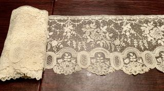 Exceptional Antique Brussels And Point De Gaze Lace On Net - 5 1/3 Yards X 11""