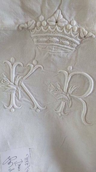 Divine Antique French Linen Dowry Sheet Crown & Monogram Of A Marquis C1890