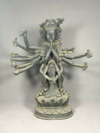 Chinese Bronze Guan Yin Buddha Image With Multiple Arms