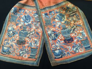 Fine Old Chinese Silk Embroidery 2 Badge Panel 富贵花 四 季平 安 Buy It Now $288