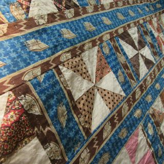 Prussian Blue C1830s Quilt Antique Brown Calico Stripe Pinwheel Great Fabric Wow