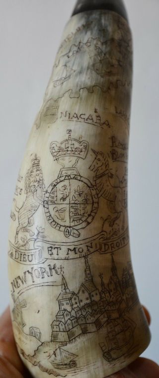 Antique York Powder Horn Carved Ny Map French Indian War American Colonial