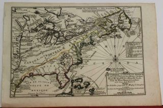 Eastern United States & Canada 1702 De Fer Unusual Antique Copper Engraved Map