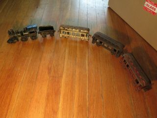 Antique 1905 Vintage Dent 5 Piece Floor Cast Iron Train W/ Coal Car Coach Rare