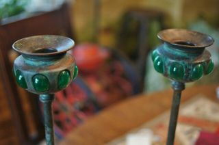 Antique Arts & Crafts Mission Bronze Candlesticks Green Glass Embellishments 14