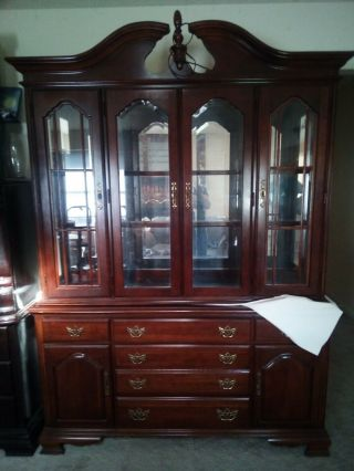 American Drew Solid Cherry 2 Piece Hutch/china Cabinet 7