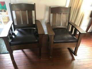 Antique Mission Art And Crafts Pair - - Rocker And Chair,  Pretty Cushions