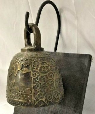 Antique Chinese Tibetan Bronze Asian Temple Buddha Hanging Sconce Bell Mount