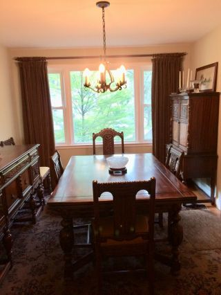 1920's Northern Furniture Company Jacobean style 10 piece dining room set 2