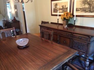 1920's Northern Furniture Company Jacobean style 10 piece dining room set 4
