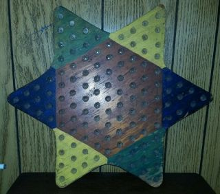 Vintage American Folk Art Hand Carved Painted Multi Colored Wood Star Gameboard