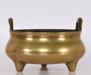 Late Ming Or Early Qing Chinese Bronze Tripod Censer Incense Burner Xuande Mark