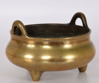 Late Ming or Early Qing Chinese Bronze Tripod Censer Incense Burner Xuande Mark 8