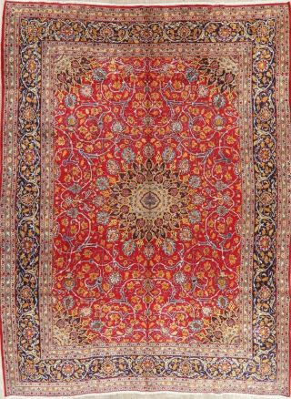 Vintage Kashmar Persian Area Rug VIBRANT RED Oriental Hand - Knotted Floral 10x12 2