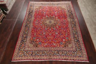 Vintage Kashmar Persian Area Rug VIBRANT RED Oriental Hand - Knotted Floral 10x12 3