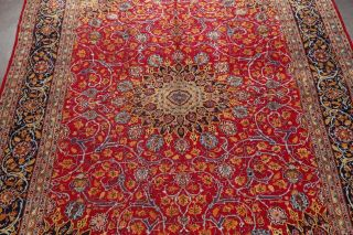 Vintage Kashmar Persian Area Rug VIBRANT RED Oriental Hand - Knotted Floral 10x12 4