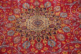 Vintage Kashmar Persian Area Rug VIBRANT RED Oriental Hand - Knotted Floral 10x12 5